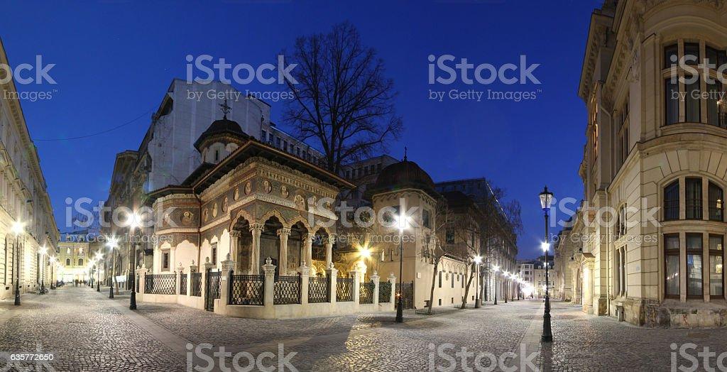 Bucharest city center panorama view. Stavropoleos Church by nigh stock photo