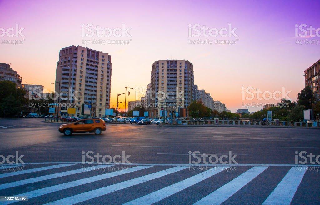 Bucharest city street at sunset stock photo