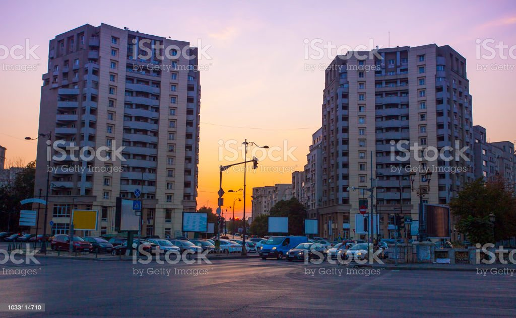 Bucharest city street at sunset. stock photo