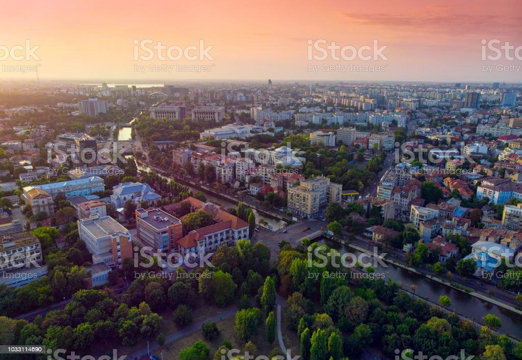 Bucharest cityscape at sunset. stock photo