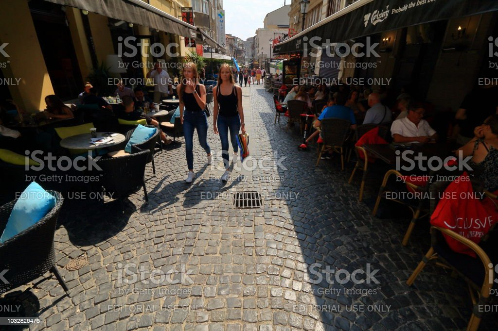 Bucharest - day life in the old town stock photo
