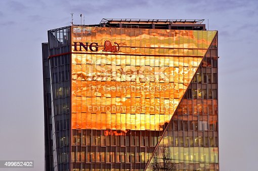 istock ING Bucharest headquarters at sunset 499652402