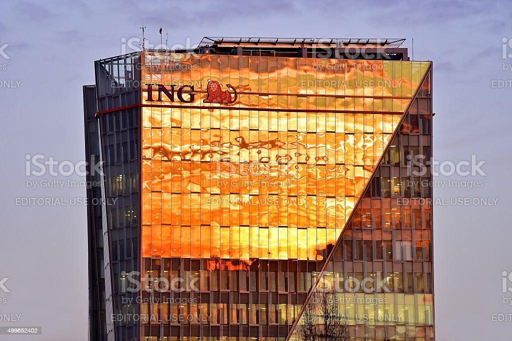 ING Bucharest headquarters at sunset stock photo