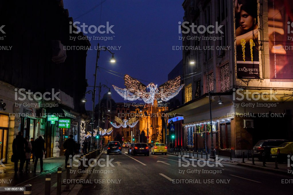 Bucharest nightlife with Christmas decorations stock photo