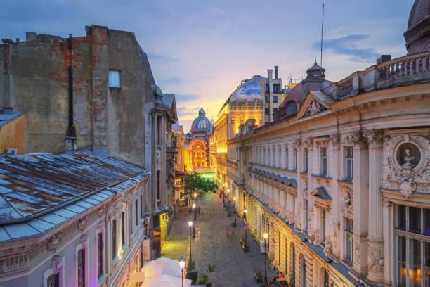 Bucharest Old Town at Dusk - Romania stock photo