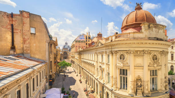 Bucharest Old Town Sunny Summer Day - Romania Bucharest Old Town Sunny Summer Day - Romania romania stock pictures, royalty-free photos & images