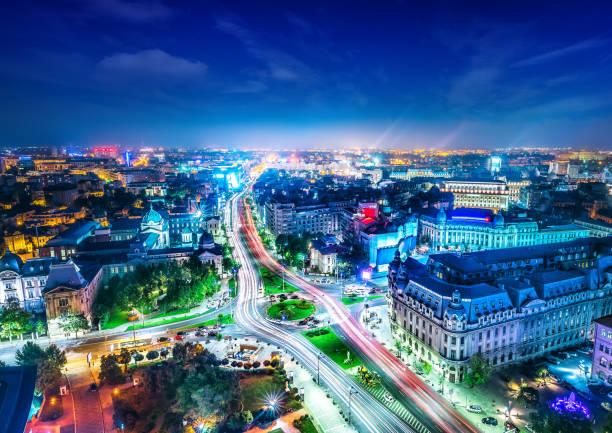 bucharest bucharest city center at night romania stock pictures, royalty-free photos & images