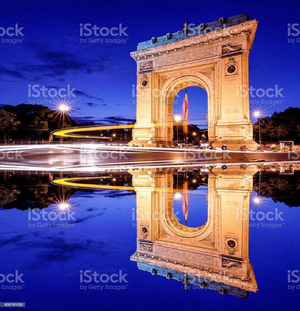 Bucharest, Romania. Arc de triomphe. Night panoramic view. Artis stock photo