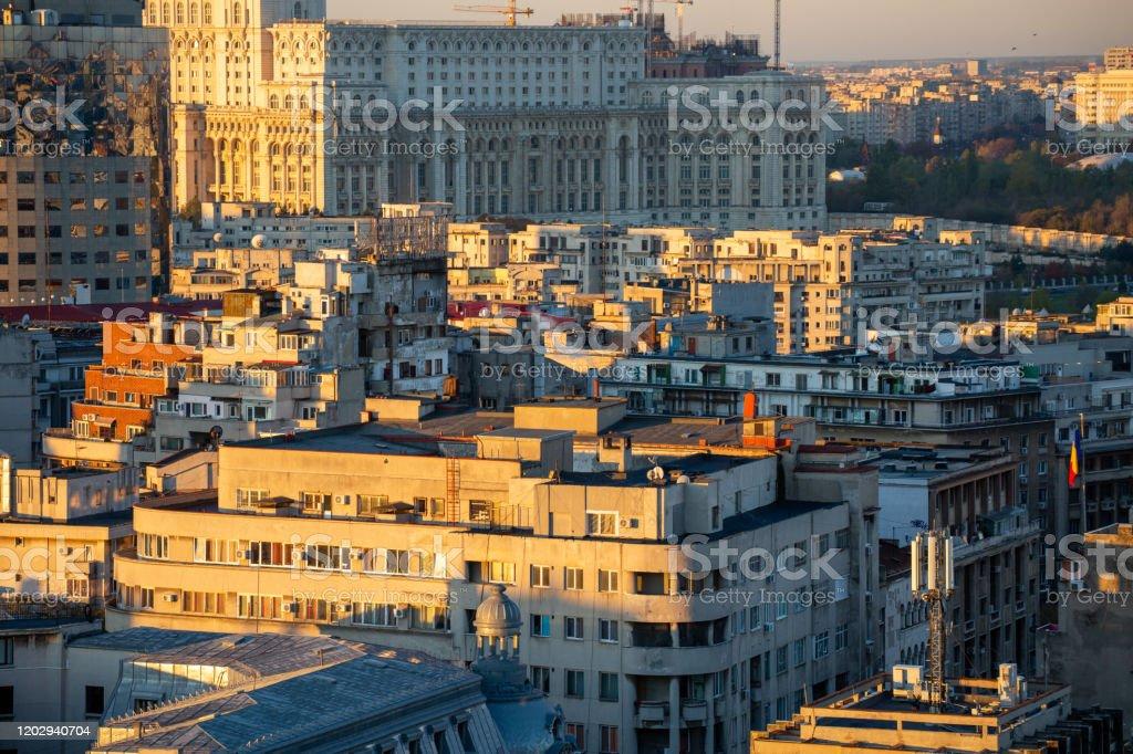 Boekarest, Roemenië in de ochtend areal - Royalty-free Architectuur Stockfoto