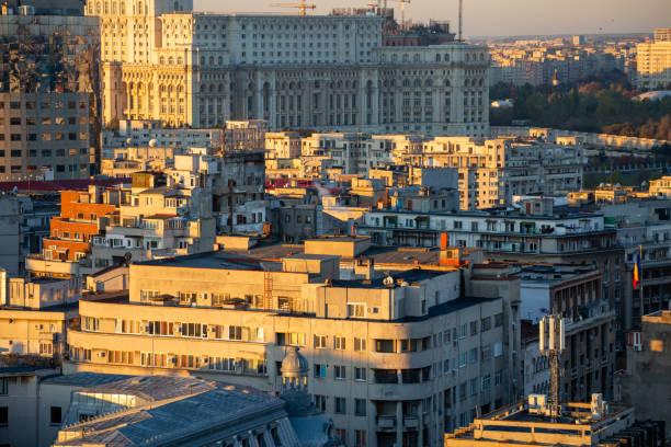 Boekarest, Roemenië in de ochtend areal foto
