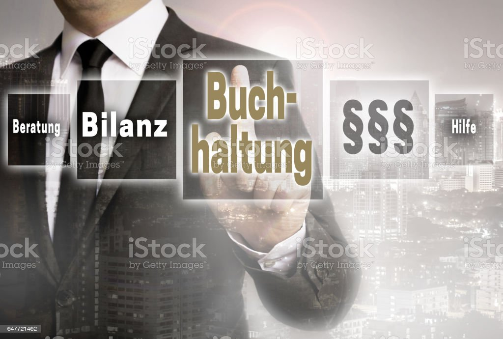 Buchhaltung (in german Accounting, Help, avice, end result) businessman with city background concept stock photo
