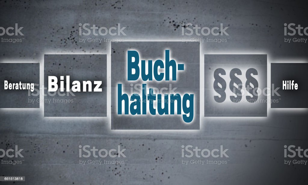 Buchhaltung (in german Accounting, Help, avice, end result) touchscreen concept background stock photo