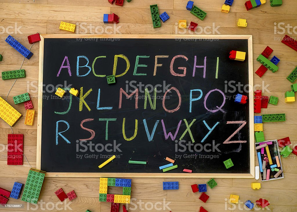 ABC Buchstaben on blackboard with colored chalk - Alphabet Tafel stock photo