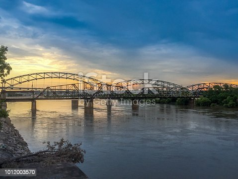 A beautiful sunset spot shot of Buck O'Neil Bridge in Kansas City, Kansas