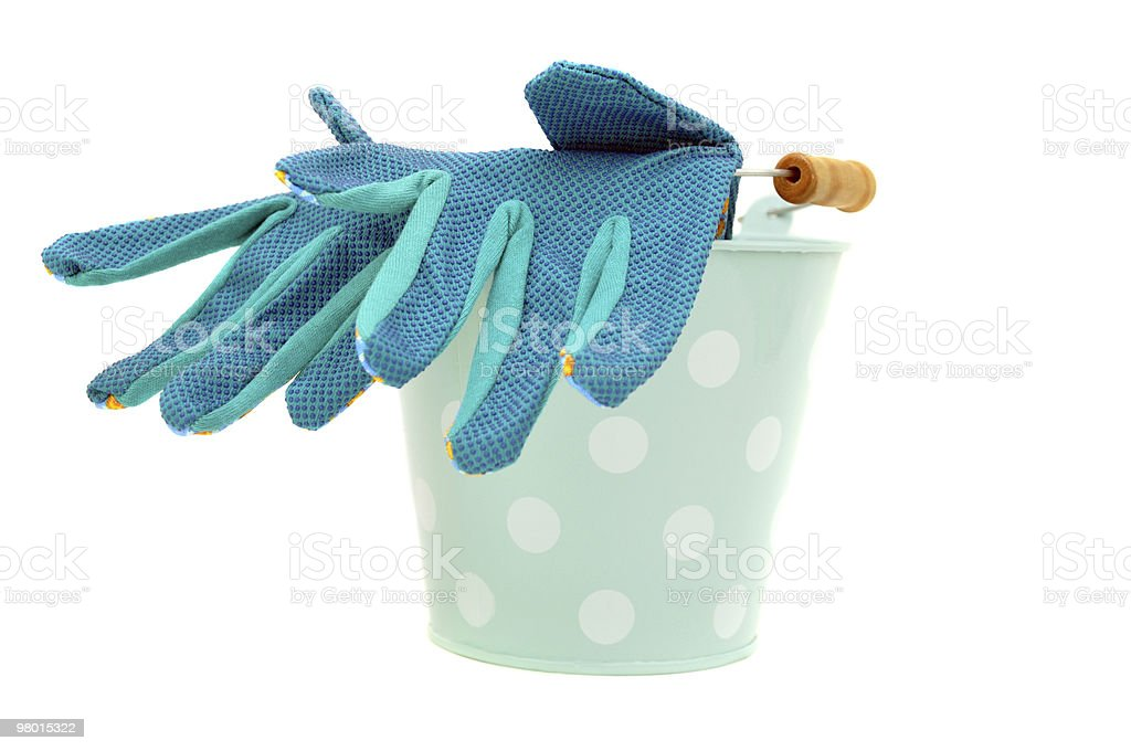 Bucket and Gloves royalty-free stock photo