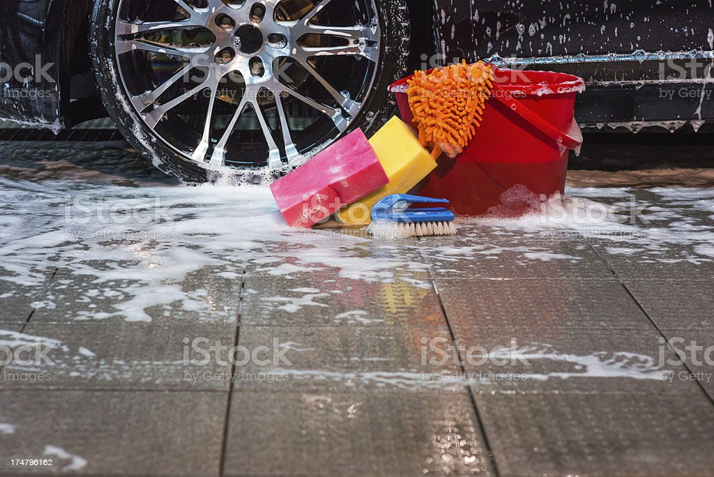 Bucket and sponges royalty-free stock photo