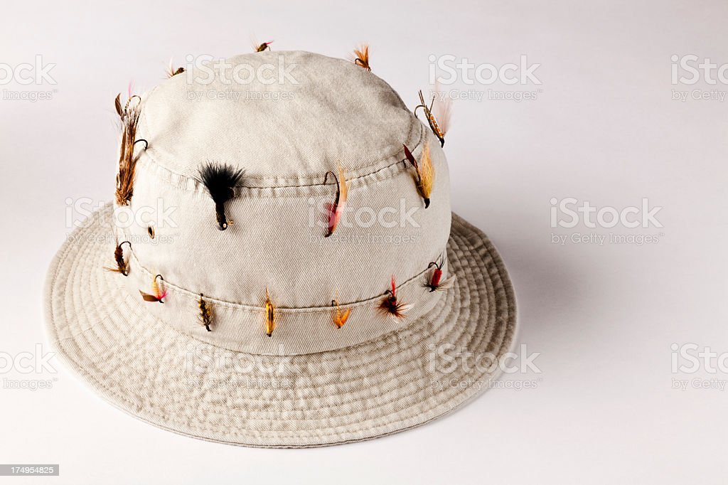 Bucket Hat with Fly-Fishing flies, on white background. stock photo