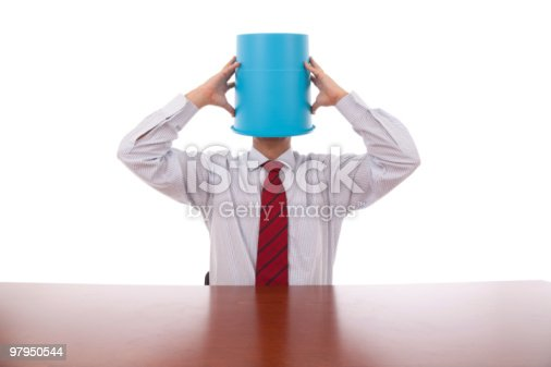 Bucket Head Businessman Stock Photo & More Pictures of Adult