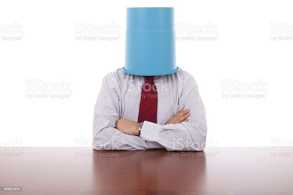 Bucket head businessman royalty-free stock photo