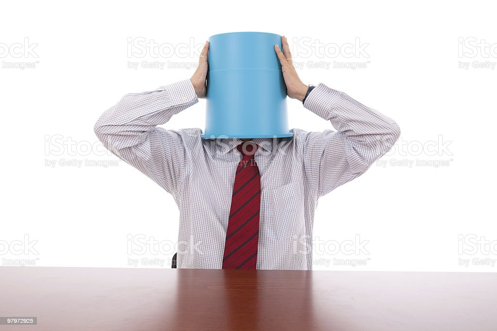 Bucket head businessman royalty-free stock photo