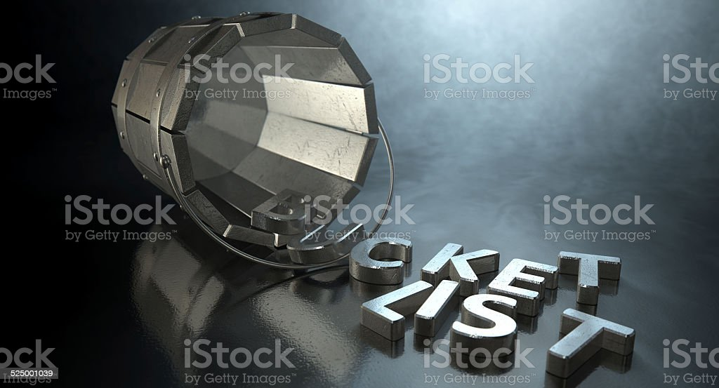 Bucket List Charm And Letters stock photo