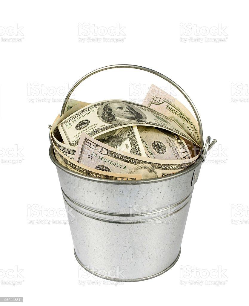Bucket of Cash royalty-free stock photo