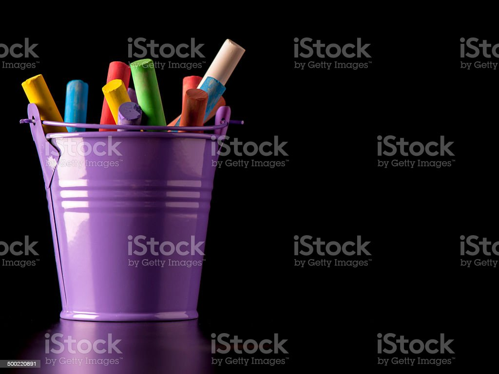 Bucket of Chalks stock photo