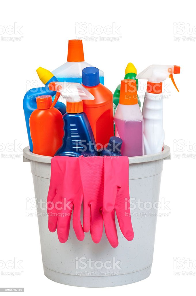 Bucket of cleaning equipment royalty-free stock photo