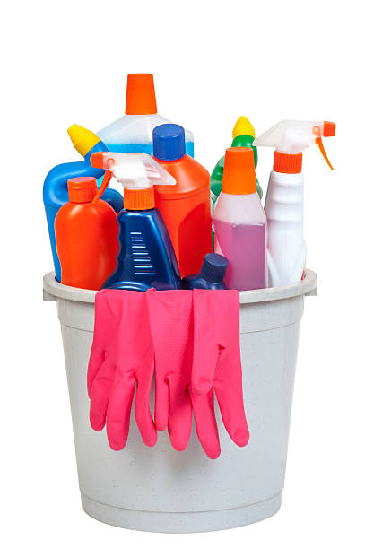 Bucket of cleaning equipment stock photo