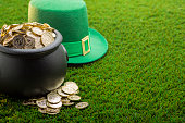 bucket of Gold on Grass for St. Patrick's Day