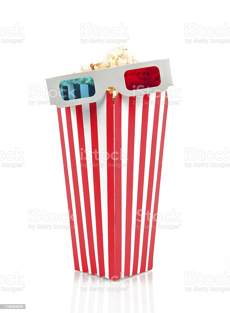 Bucket of popcorn with 3D glasses royalty-free stock photo