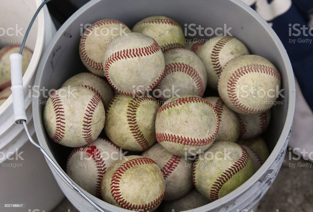 Bucket Of Practice Baseballs stock photo