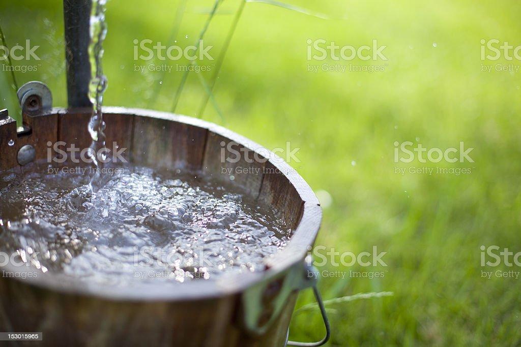 Bucket of Well Water stock photo