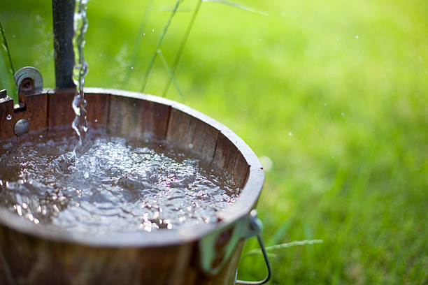 Bucket of Well Water stock photo