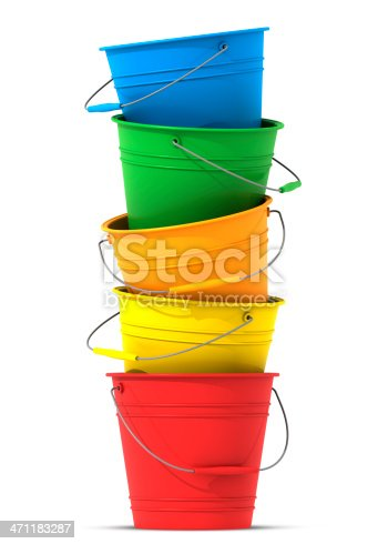 Colorful buckets in a stack on a white background.