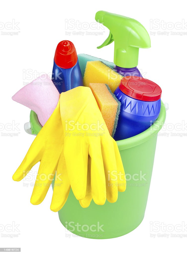 bucket with cleaning articles royalty-free stock photo