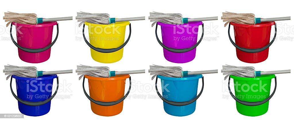 Bucket with cleaning mop - colorful stock photo