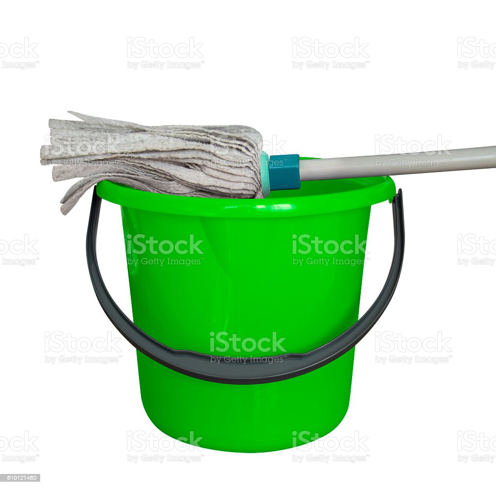Bucket with cleaning mop - green stock photo