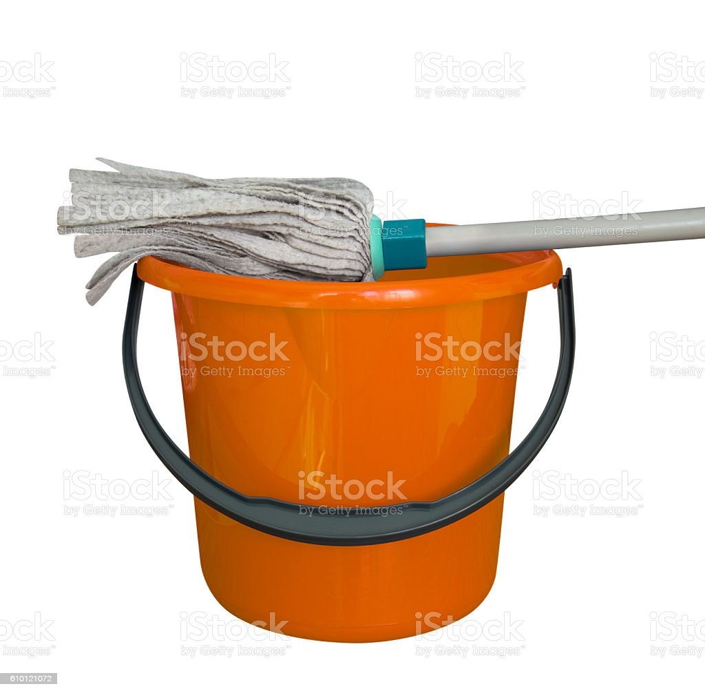 Bucket with cleaning mop - orange stock photo