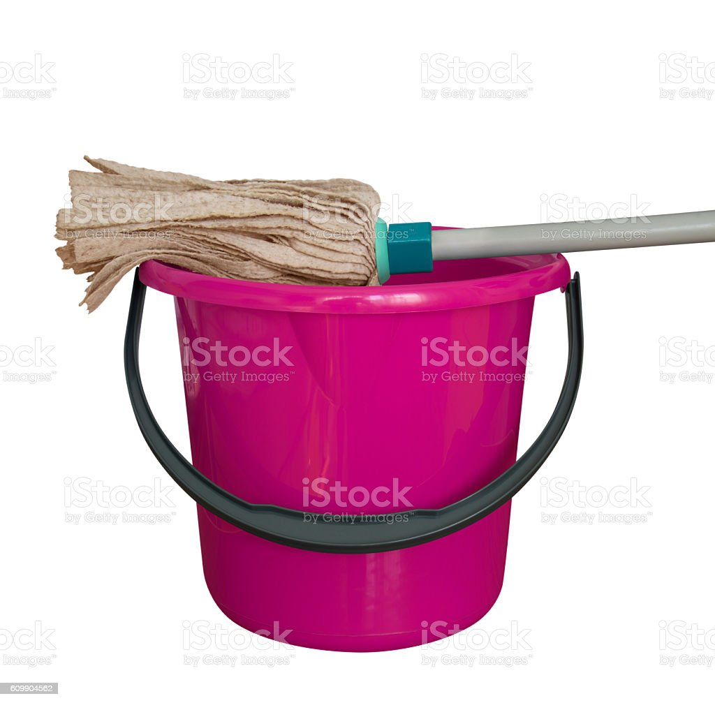 Bucket with cleaning mop - pink stock photo