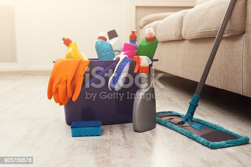 istock Bucket with sponge, chemicals bottles and mopping stick. 925759578