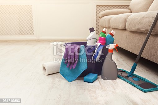 istock Bucket with sponge, chemicals bottles and mopping stick. 931715890