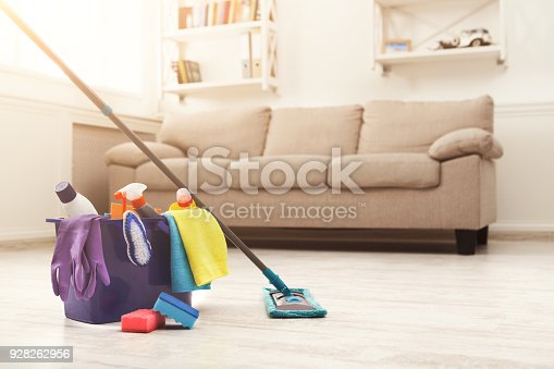 istock Bucket with sponges, chemicals bottles and mopping stick. 928262956