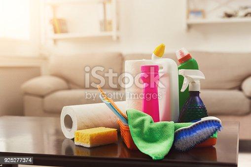 istock Bucket with sponges, chemicals bottles 925277374
