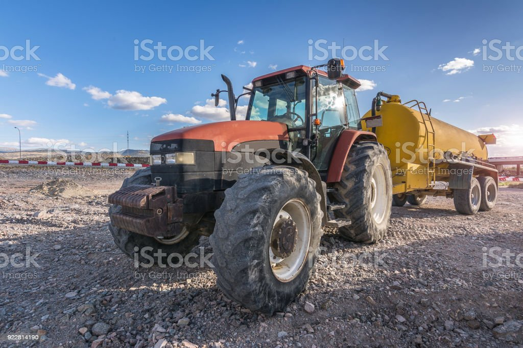 Bucket with water to moisten the ground stock photo