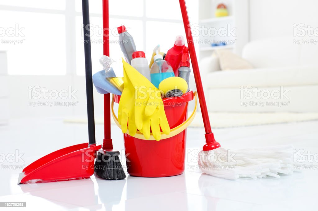 Bucketful and cleaning equipment. royalty-free stock photo