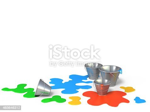 939851856 istock photo Buckets with different colors paint on a white background. 465646312