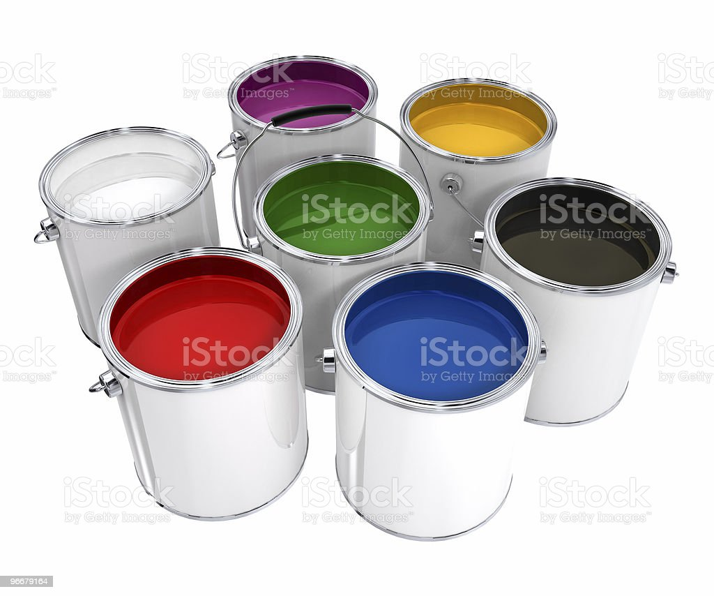 Buckets with paint royalty-free stock photo