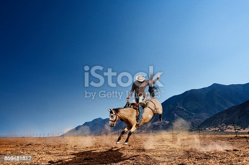 Cowboy riding bucking horse in pasture with mountains in the background.