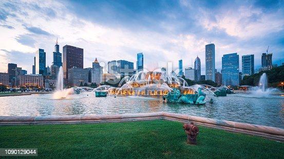 Chicago Skyline Buckingham Fountain Panorama at Night
